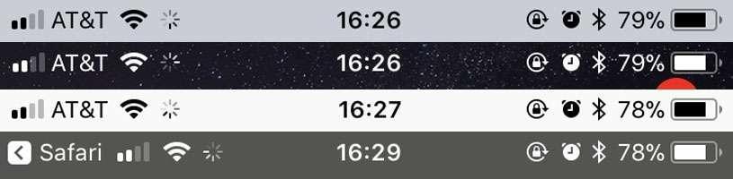 iphone spinning wheel on status bar