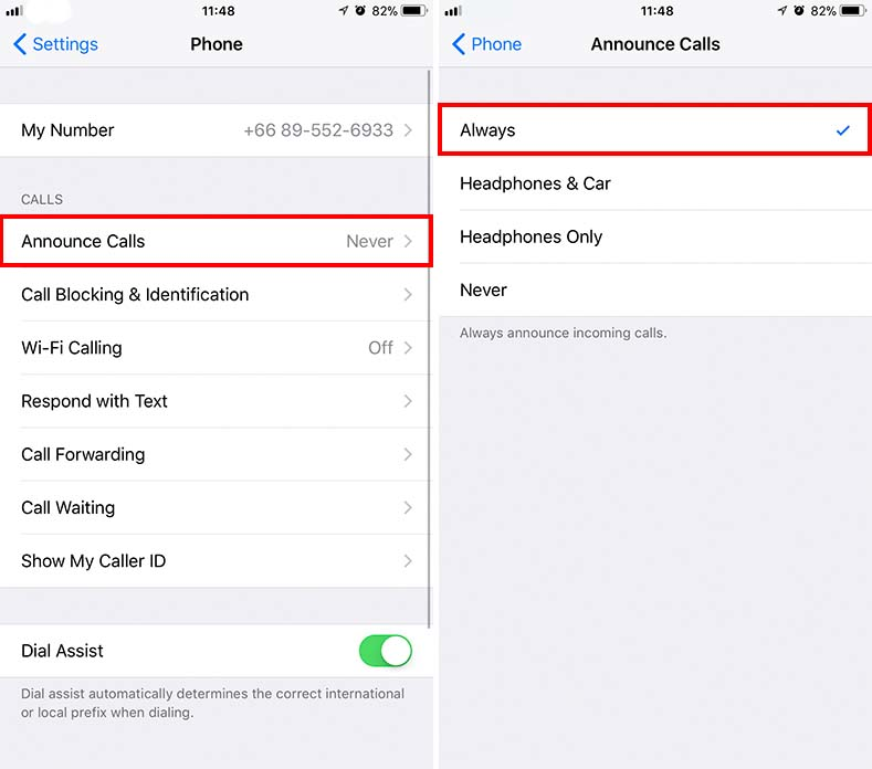 anounce calls settings on iphone