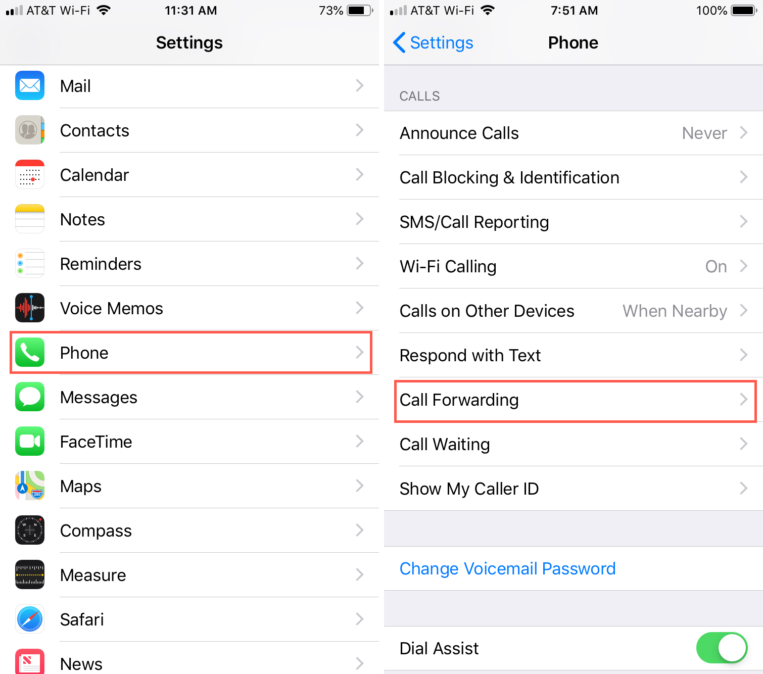call forwarding settings on iphone