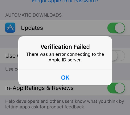 error connecting apple id server