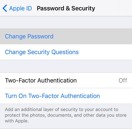 change icloud password