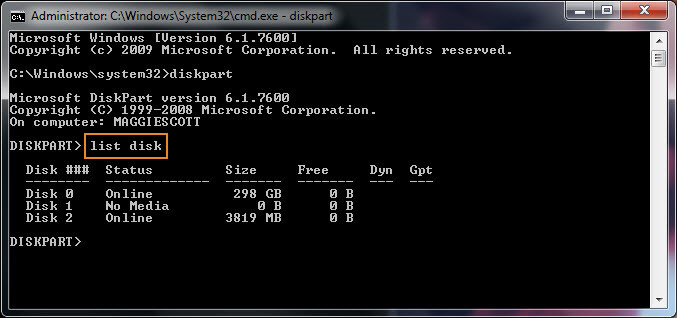 format sd card using command prompt