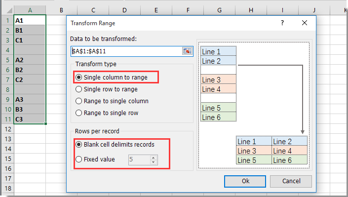 transform range dialog on kutools