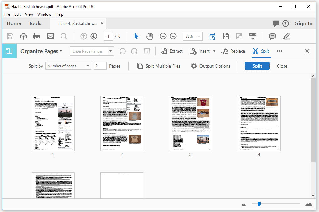 split pdf file using adobe