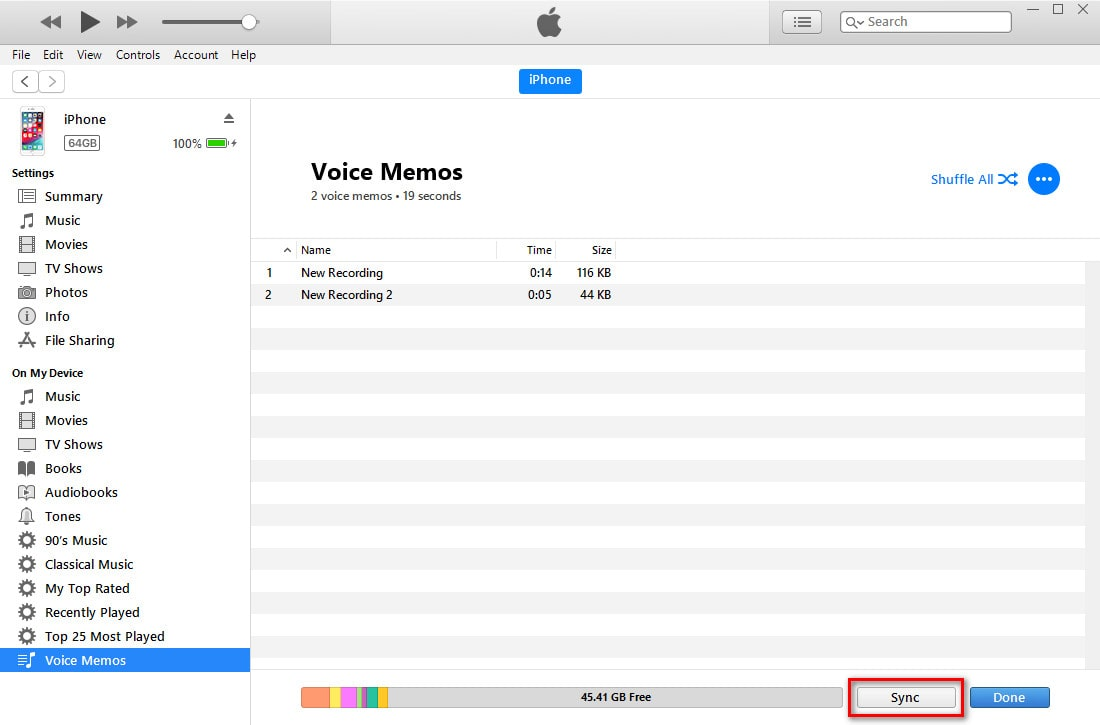 sync voice memos using itunes
