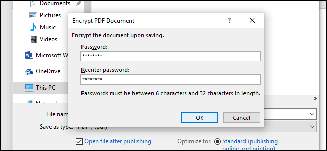 set password for pdf on Word