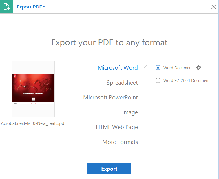 export pdf to html files on adobe