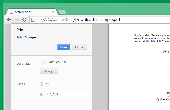 use google chrome to extract pages from pdf