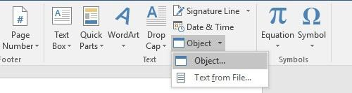 insert object into word document