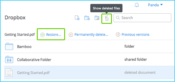 recover deleted photos from dropbox