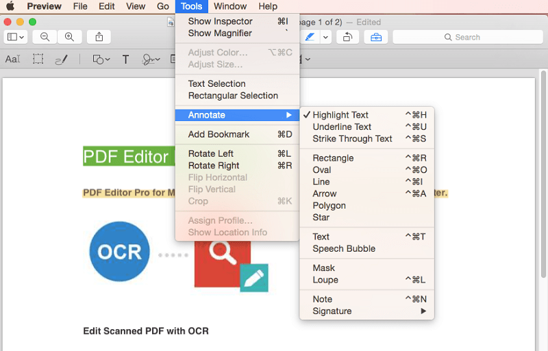 annotate pdf on mac with preview