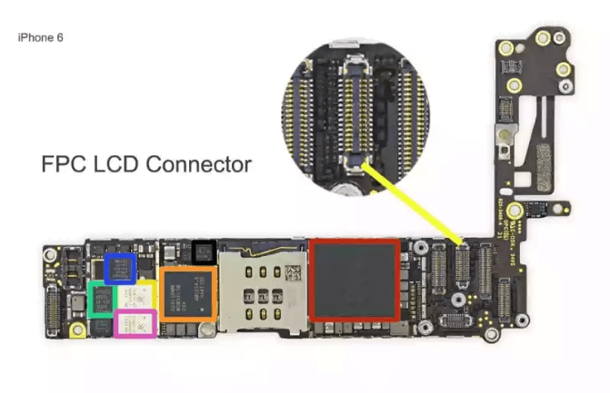 connector on logic board for LCD on iphone