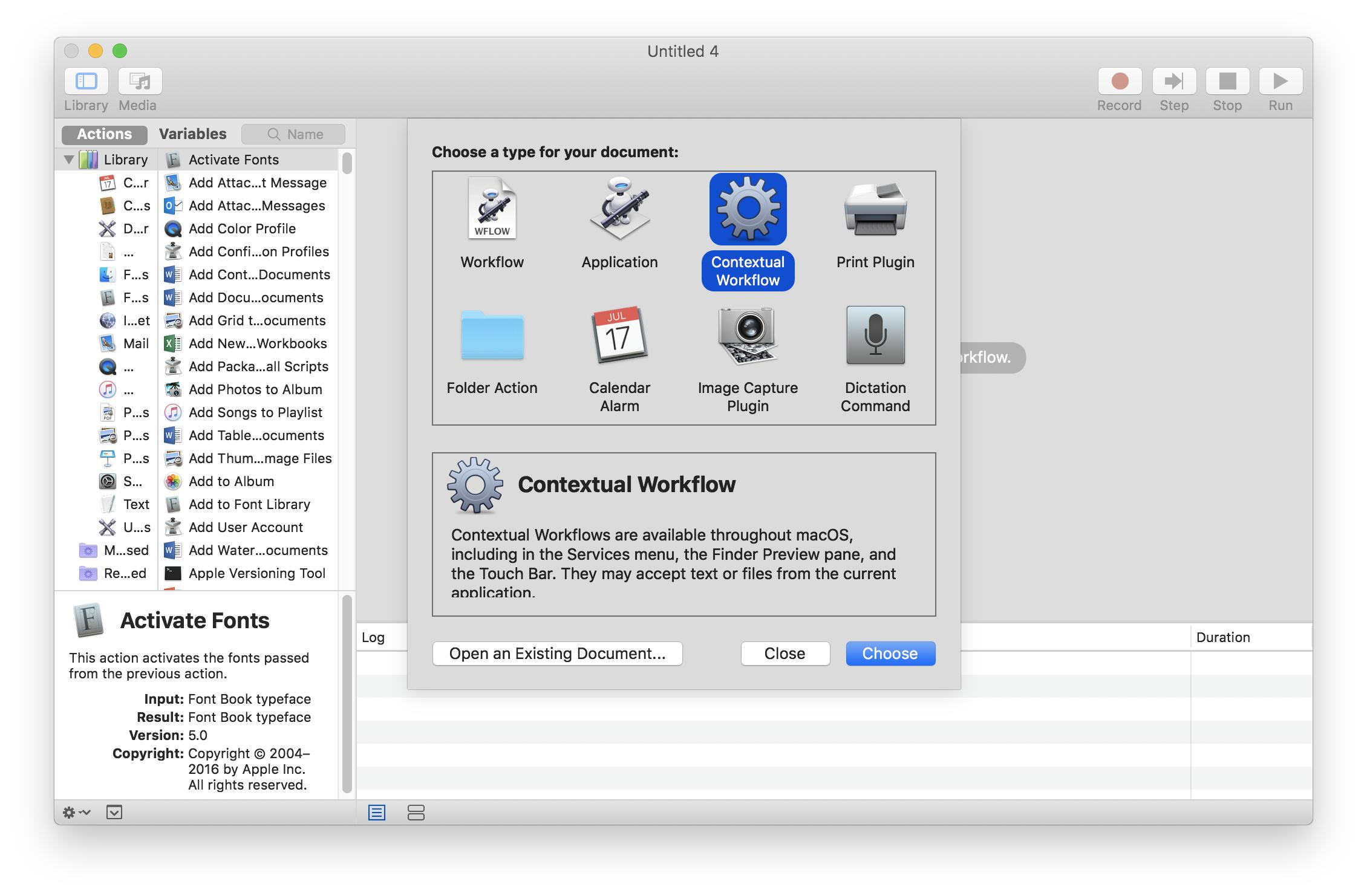 choose contexttual workflow on macbook
