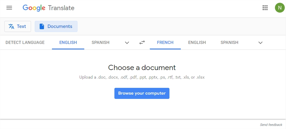 google translate to translate document