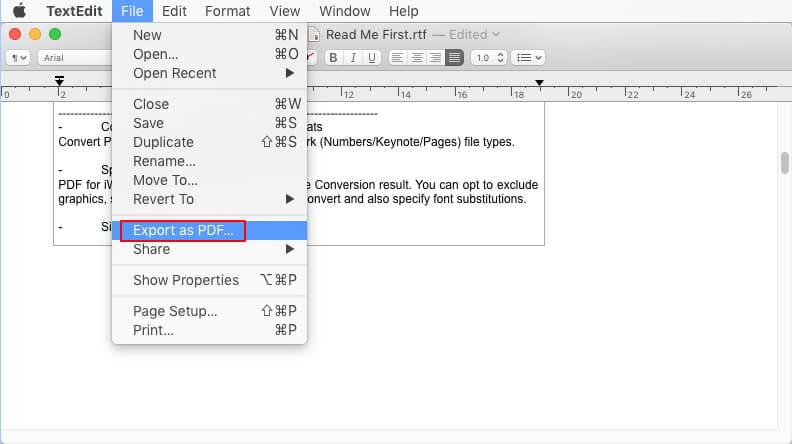 textedit export as pdf
