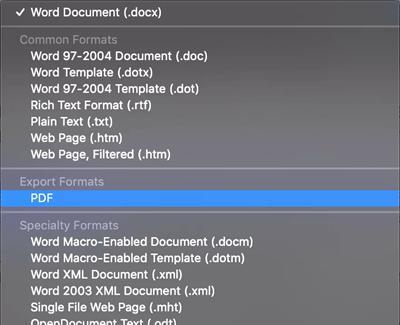 word save as pdf