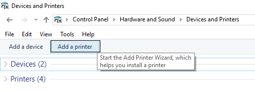 add a printer devices and printers