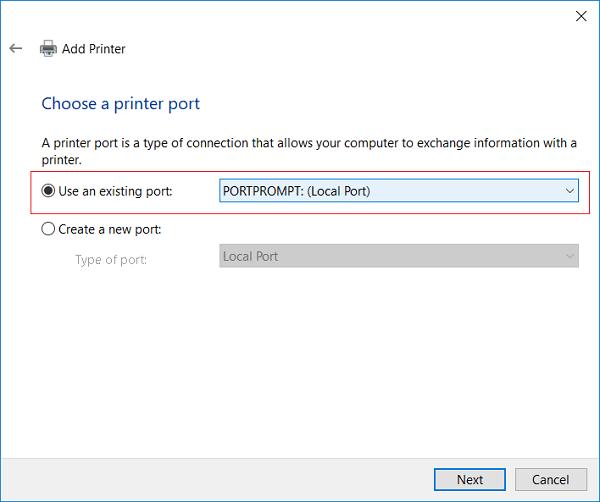 choose a printer port