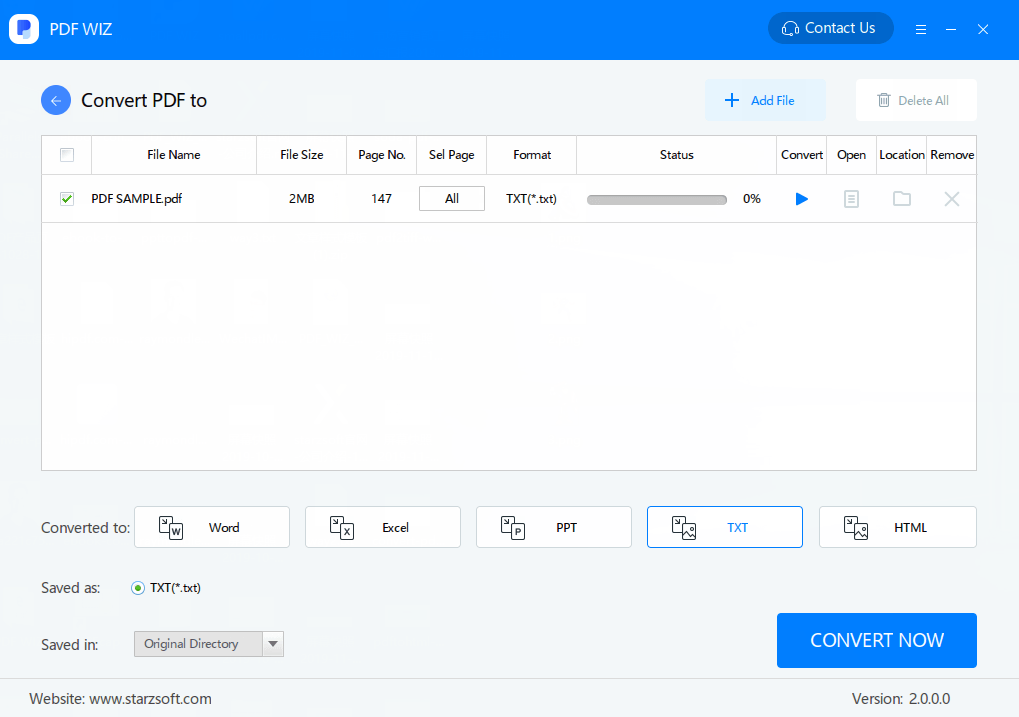 use pdf wiz to convert pdf to txt