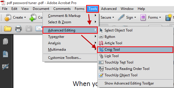 crop pdf using adobe acrobat pro