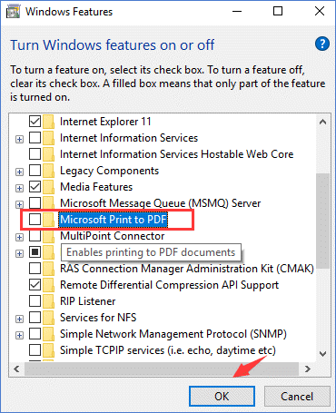 disable Microsoft print to pdf