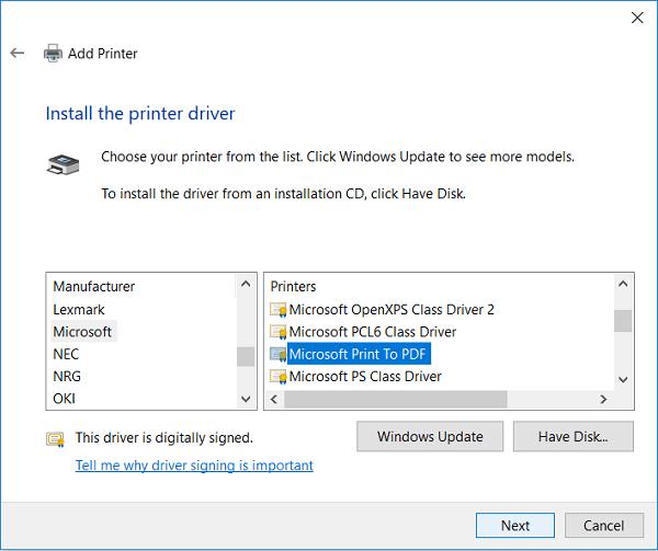 install printer driver