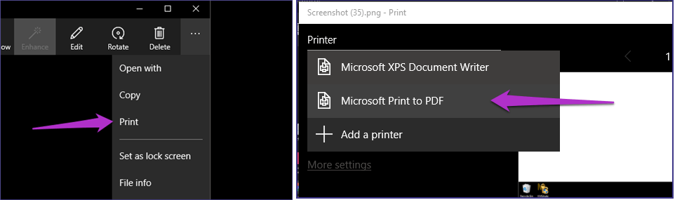 print screenshot as pdf photo