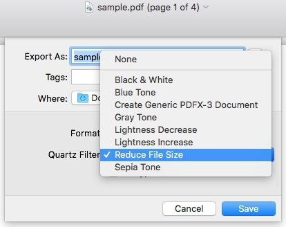 reduce pdf size on preview
