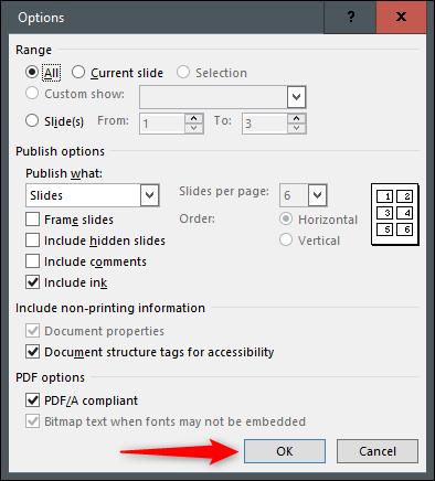 select pdf options