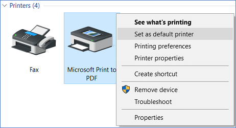 set microsoft print to pdf as default