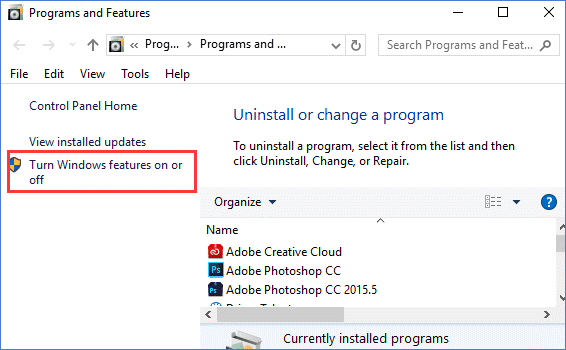 turn Windows features on