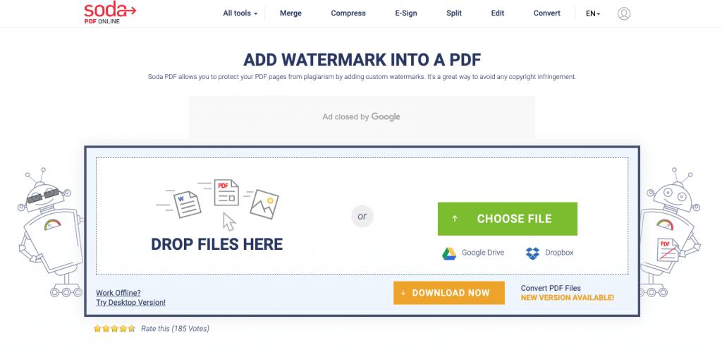 add watermark into pdf at sodapdf.com