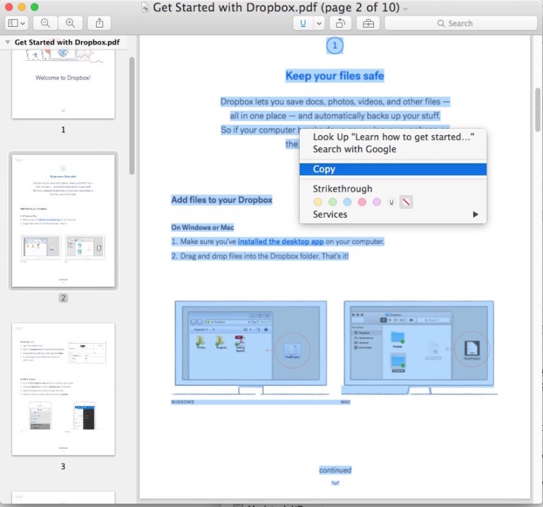 copy text from pdf mac preview