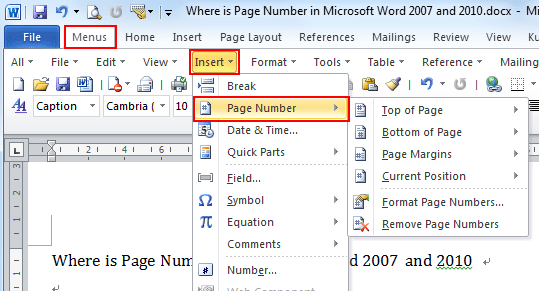 Insert option on Word