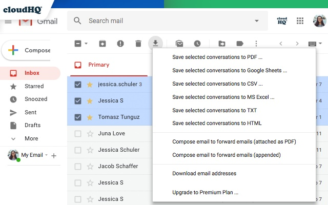 save gmail to pdf with cloudhq