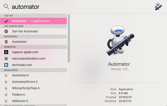 search automator on spotlight