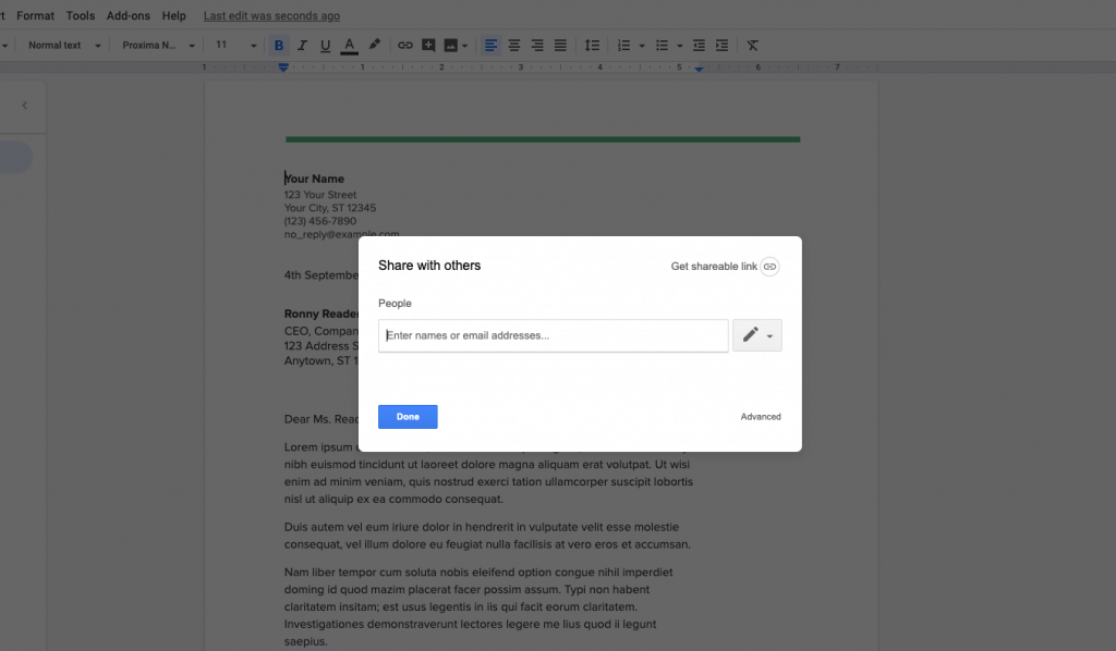 share google doc to others
