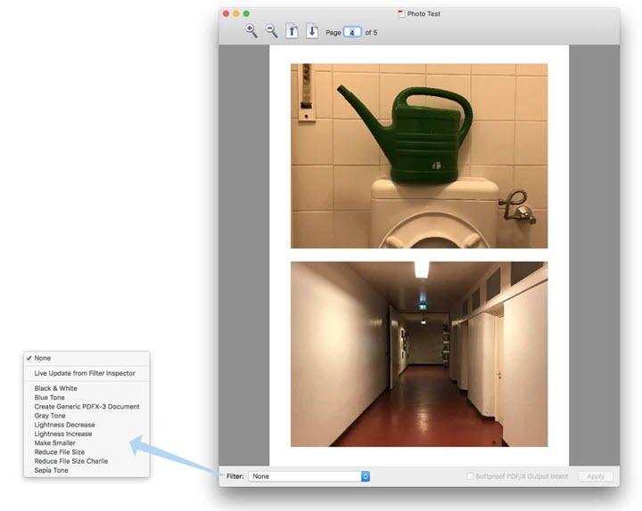 colorsync filter reduce PDF size