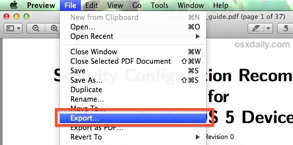 export pdf to compress file size