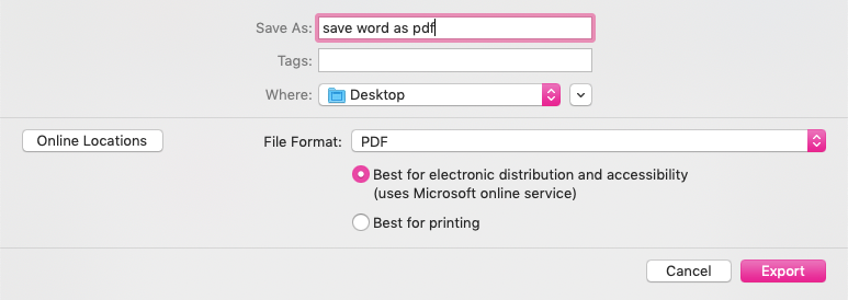 best for electronic distribution and accessibility option in word