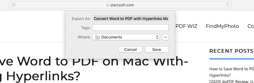 export webpage as pdf on mac safari