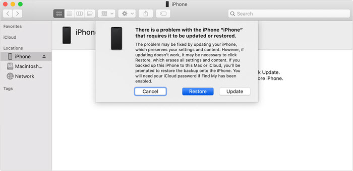 itunes recover mode aleart