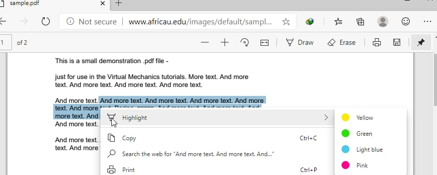 highlight texts in pdf on edge browser