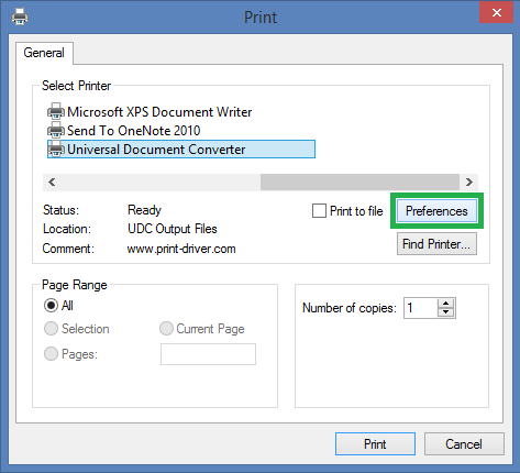 universal document converter select as printer