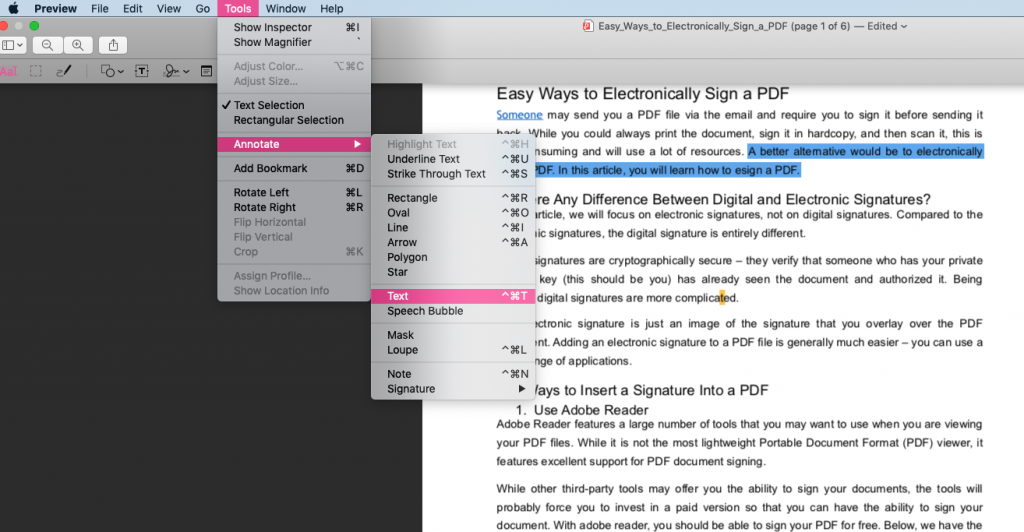 use preview to create texts on pdf