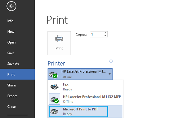 print to pdf feature on windows 10