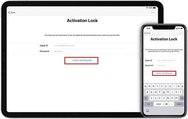 unlock with passcode activation lock