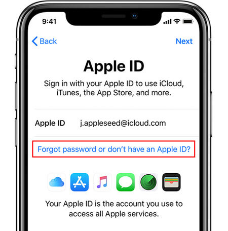 iphone setup enter apple id