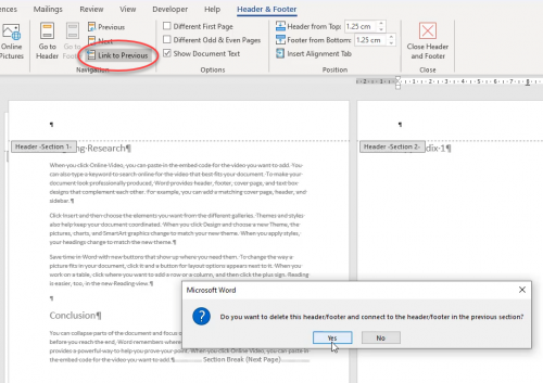 link to obvious option in word
