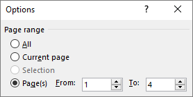 page range option in word